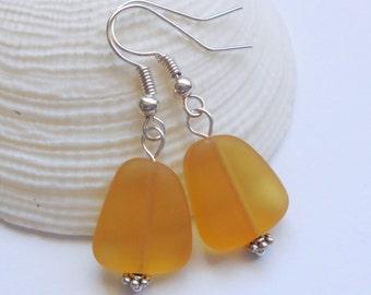 Yellow Sea Glass Earrings,Sea Glass Jewelry,Seaglass Earrings,Seaglass Jewelry,Beach Glass Jewelry,Beach Glass Earrings,Beach.Free Shipping