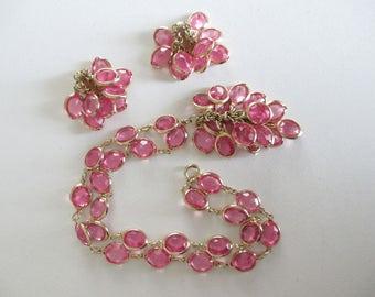Vintage Pink Bezel Set Lucite Bead Necklace Earring Set Retro Free Shipping