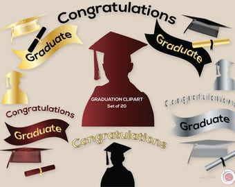 Graduation Clipart, Graduate, Foil, Gold, Silver, Maroon, Black, Crafts, Party Supplies, Cap, Scroll. Silhouette, Cards, Invitations