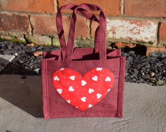 LIMITED EDITION Valentines Gift Bag, Heart Bag, Valentine Gift, Jute Bag, Hessian Bag, Gift Bag, Valentines Day Gifts, Handmade Heart Bag