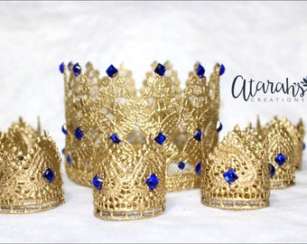 Cupcake topper / Crown cupcake toppers /  Lace Crown Newborn / mini lace crown / Cake topper / Photography Prop / MADE IN USA.