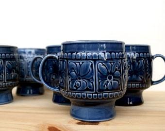 VIntage Arthur Wood cobalt blue coffee mugs, made in England