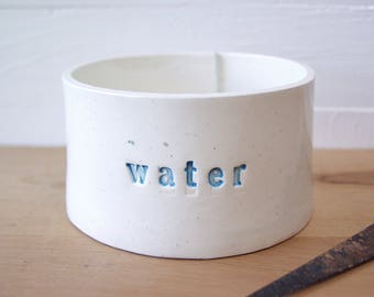Water Bowl.  Hand-Built Water Dish.  Water Crock.  In Light Blue.  Recycled Clay.