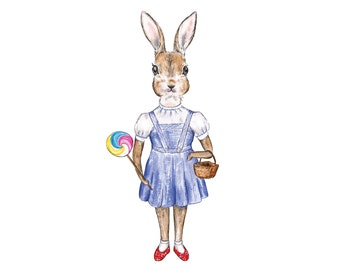 Dorothy Rabbit // Wizard of Oz art prints, blue theme, girls decor, wall print, classic, storybook, illustration, watercolour, artwork
