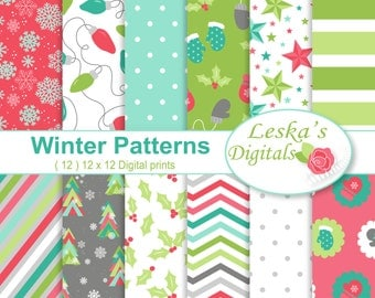 Christmas Digital Scrapbook Paper, Christmas Background, White Christmas, Holiday Papers, Holiday Backgrounds, Snowflake, Christmas Lights