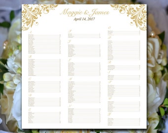 """Gold Seating Chart Template Wedding Seating Plan Printable Seating Chart - Seating Template Printable Table Plan - Wedding Seating """"Maggie"""""""