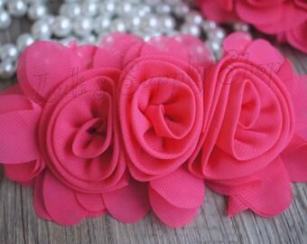 "3"" Hot Pink Chiffon Ruffle Flowers - Pink Fabric Roses - Large Fabric Flower - Wholesale Chiffon Flower - Fabric Flower - Headband Supplies"