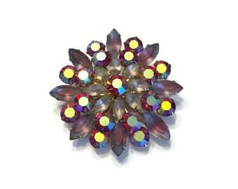 Vintage Rhinestone Brooch, 1950s 1960s Signed Coro Brooch, Aurora Borealis Rhinestone Pin, Costume Jewelry