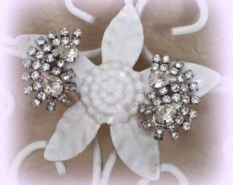 50s Rhinestone Earrings - Sparkling Pear Rhinestones - Clips - Silver Tone Setting - Bridal Prom Formal