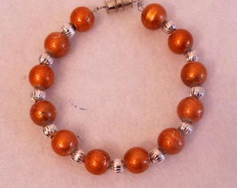 Orange Glass Bead Stretch Bracelet, handmade  jewelry, Made in the USA, #132A