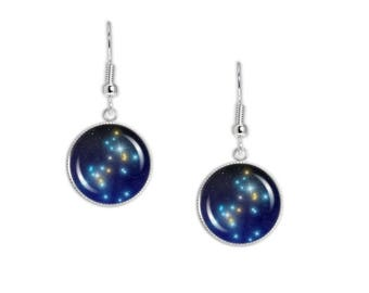 """Great Dog Constellation Canis Major Illustration Dangle Earrings w/ 3/4"""" Space Charms in Silver Tone"""