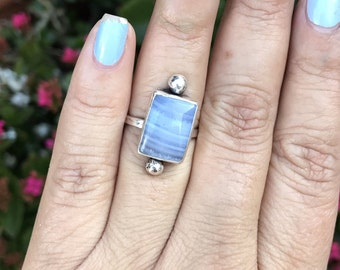 Blue lace agate ring, blue lace on sterling silver ring, statement ring, agate ring