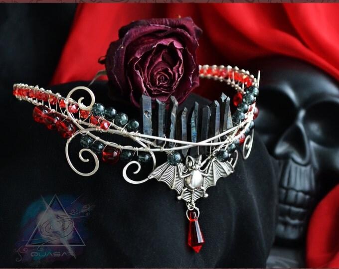 "Diadem ""Vampire"". gothic diadem, tiara, rock accessory, gothic jewelry, quartz crystals diadem, crown crystals, goth, vamp"