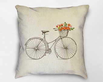 Bicycle Throw Pillow, Bike Pillow, Bicycle Gift, Bicycle Decor, Spring Pillows, Spring Pillow Cover, Spring Decor, Dorm Pillows, Bike Lover