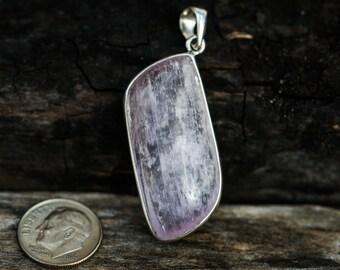 Kunzite Cabochon Pendant - Kunzite and Sterling Silver Pendant - Kunzite Jewelry - Kunzite Cabochon  - Kunzite Necklace - Kunzite Jewelry