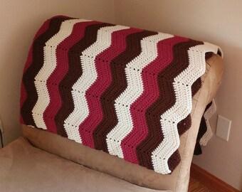 Chevron Crochet Afghan- Tan, Brown and Maroon