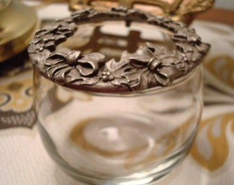 Vintage Rawcliffe Pewter Holly Wreath Top, Clear Glass Potpourri/Vanity Jar - Circa 1980's - Excellent Condition!!