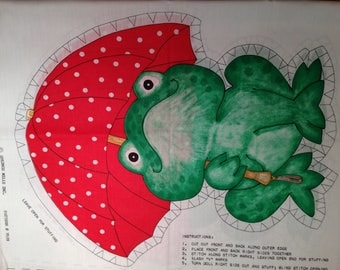 Frog with Umbrella Pillow Panel by Springs Mills
