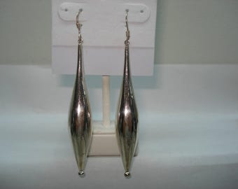 Sterling Silver Modernist Drop Style Pierced Earrings 3""
