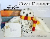 Hogwarts Post Owl - Harry Potter Owl - Hedwig Owl - Hogwarts Letter - Harry Potter Letter - Plush Owl - Owl Puppet - Owl Delivery -