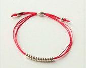 Sterling silver red silk cord friendship bracelet, bead and red cord bracelet, red silk cord bracelet, silver beads and fabric bracelet