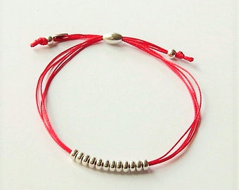 Sterling silver red silk cord friendship bracelet, bead and red cord bracelet, red silk cord bracelet, silver beads and fabric bracelet