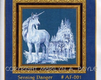 COUNTED CROSS STITCH Kit; full kit, unicorn, wolves, fantasy, winter,