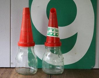 500ml Motor Oil Bottle Pourer Amoco LDO and BP Visco 2000 Garagenalia Petrolalia Petrolnalia Mantique Man Cave Collectible