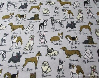 Flannel Fabric - Dog Breeds - 1 yard - 100% Cotton Flannel