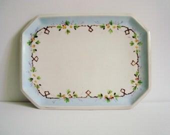 Blue flower rectangle vanity / sandwich tray