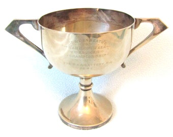 Rare Vintage Collectible Art Deco Trophy Cup, Royal Navy Interest, Cowdenbeath Warship Week, Mid Second World War, National Savings, Navy