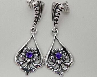 Sterling Silver Earrings with Amethyst Accent. Amethyst Earrings. Sterling Silver Dangle Earrings. Chandelier Earrings