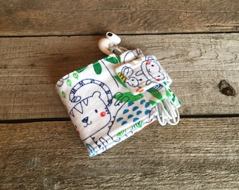 Wallet and Earbud Holder, zoo animals