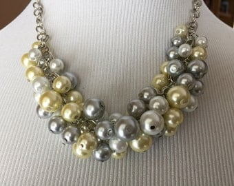 Gray, white, yellow pearl necklace, wedding jewelry, bridesmaid jewelry, chunky pearl necklace, statement necklace, cluster pearl necklace