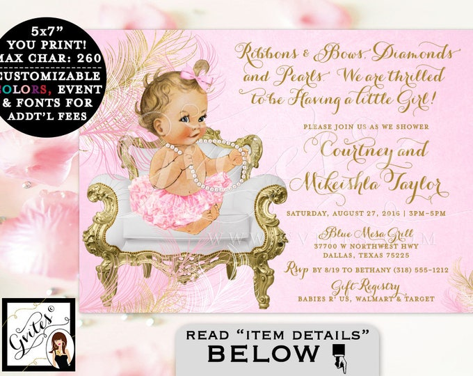 BABY SHOWER girl invitation, pink and gold baby shower, ribbons bows diamonds and pearls, vintage, baby girl tutu invite, ruffles bows.