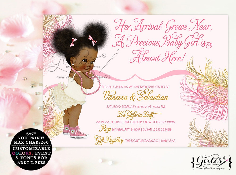 african american baby girl baby shower invitations, pink, rose, Baby shower