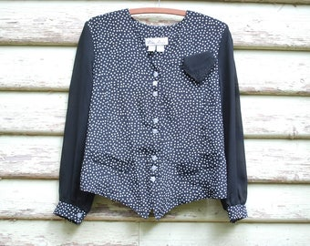 Vintage 80s Blouse Polka Dot Shirt Jacket Retro Boho Sheer Sleeves Black and White Vtg 1980s Size S-M