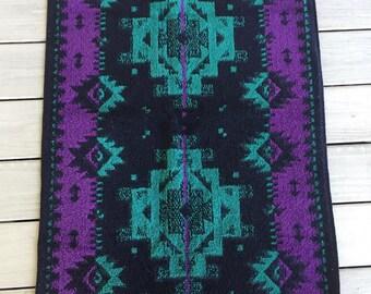 Vtg Hand Towel Southwestern Aztec Black Purple Teal Fieldcrest Geometric Navajo
