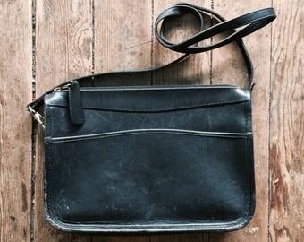Black Leather Purse, Bag, cross body hand bag, Coach esque, Michael Green, front pocket