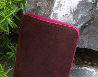 RUSTY Kindle Voyage, Kindle Paperwhite, Kindle Oasis Leather bag, pink or petrol, calf fat leather, pure wool felt