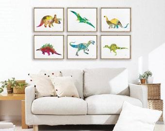 Watercolor Dinosaur Paintings, Art Print Set of 6, Dinosaur Home Decor, Colorful Art Wall Hangings, Wall Decor - Poster 5x7 / 8x10 / 11x14