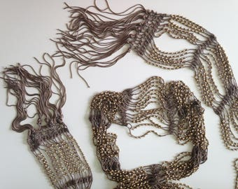 Silk Summer Scarf, Skinny Scarf, Multistrand Necklace, Great Gatsby Party, Roaring 20s Jewelry Fringe Necklace, Long Tassel Necklace