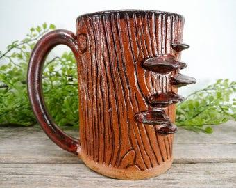Shelf Fungus Stump Mug - 14 oz - Copper - Handmade Slab Construction and Sculpture Stoneware Coffee Cup