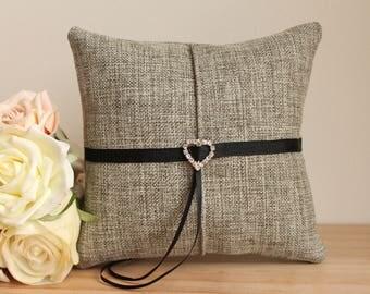 Linen Ring Bearer Pillow, Tailored Grey Linen, Ring Cushion