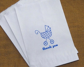 25 Baby Shower Favor Bags, Candy Buffet Bags, Baby Carriage, Baby Stroller, It's a Girl, It's a Boy, Glassine White Kraft Bag, Pink, Blue
