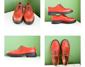 Cole Haan Red Leather Oxford Lace Up Shoes Waterproof Women's 8 1/2 Red Leather Lace Up Oxford Shoes