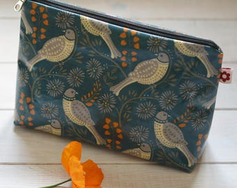 New! Song Thrush Teal Oilcloth Wash Bag by Susie Faulks/ Bag/ Oilcloth Bags/ Made in England/ Make Up Purse
