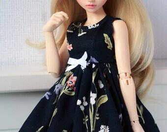 Dark blue flower dress minifee