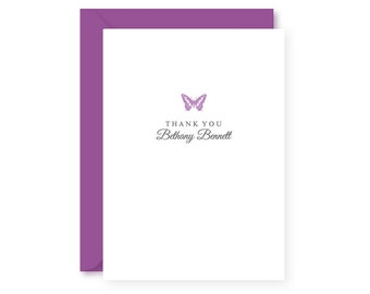 Personalized Thank You Stationery Set, Butterfly, Boxed Set of 10 Folded Notes & Envelopes