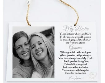 Friendship Personalised Wooden Photo Poem Plaque
